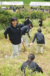 恒例行事「草刈り大会」が行われた=23日、カラ岳