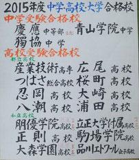 筆文字の手書きの合格校