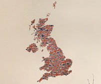 UK map, vinyl printed wall art