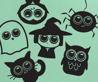 Cute Collection vinyl decals, with a vampire, ghost, witch, spider, cat and owl.