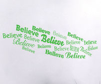 Believe Word Clouds, vinyl decals