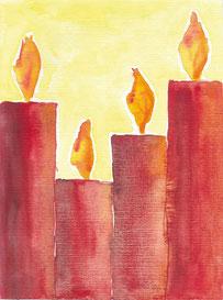 Grußkarte Advent Kerzen