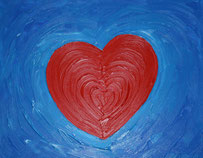 Red Love Heart on Blue Background