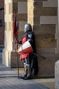 Personnage avec une armure, un casque et un bouclier qui attend seul dans la rue.