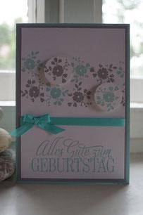 Geburtstagskarte mit den neuen GastgeberInnen-Stempelsets - Patricia Stich 2015