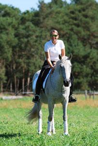Klaudia Duif Lusitano Spanier Andalusier Dressur Horsemanship Jungpferdeausbildung Reitunterricht Berlin Brandenburg Parelli Pferdehof Duif