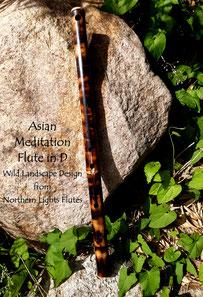 Asian Meditation Flute sideblown in D- Wild Landscape Design from  Northern Lights Flutes