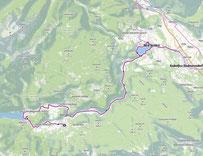 Route von Bohinkska Bistrica nach Bled und weiter nach Jesenice