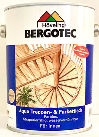 Bergotec Aqua Treppen & Parkettlack - Versiegelung für Parkett, Kork, Holz-Treppen - äußerst geruchsarm