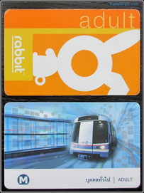 BTS rabbit card (orange) - MRT card (blue)