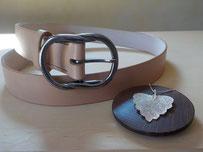 ceinture cuir pour femmes beige longueur jusqu'à 90 cm
