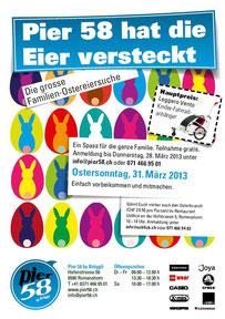 Pier 58 in Romanshorn lädt Familien ein, am Ostersonntag im Seepark 40 versteckte Eier zu suchen. Als Hauptpreis winkt der Leggero Vento Veloanhänger.