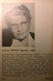 Biografie von Jeanette Wolff in Kürschners Volkshandbuch Deutscher Bundestag von 1954