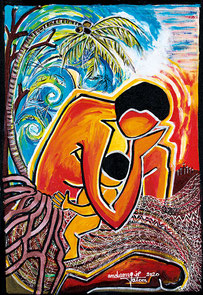 Das Gemälde zeigt die Situation auf Vanuatu als der Zyklon Pam 2015 über die Inseln zog (Bild: Juliette Pita).