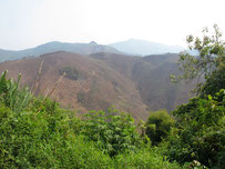 Deforested mountains near Louang Prabang, Laos