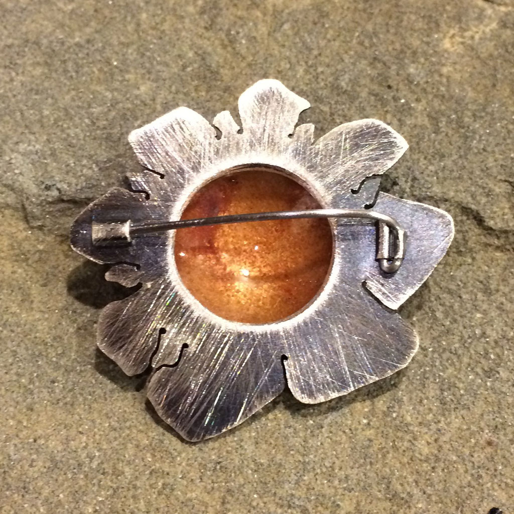 Champlevé brooch. Enamel copper sterling steel. Collection of Claudia Kadis.