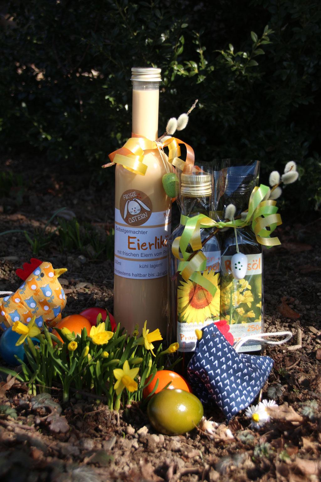Österlich dekorierter Eierlikör und Speiseöl-Geschenkset - 2021