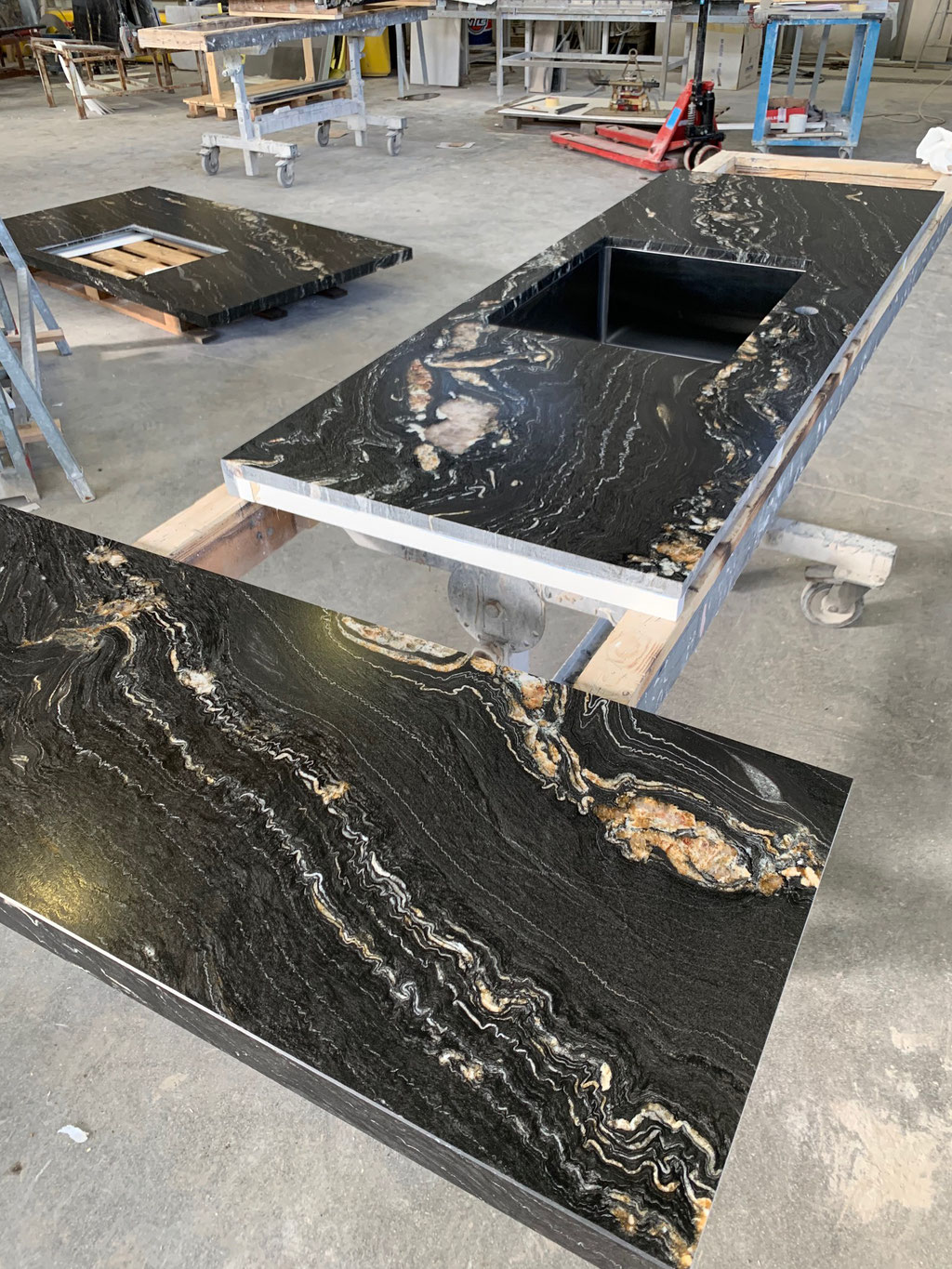 Final quality check of granite kitchen