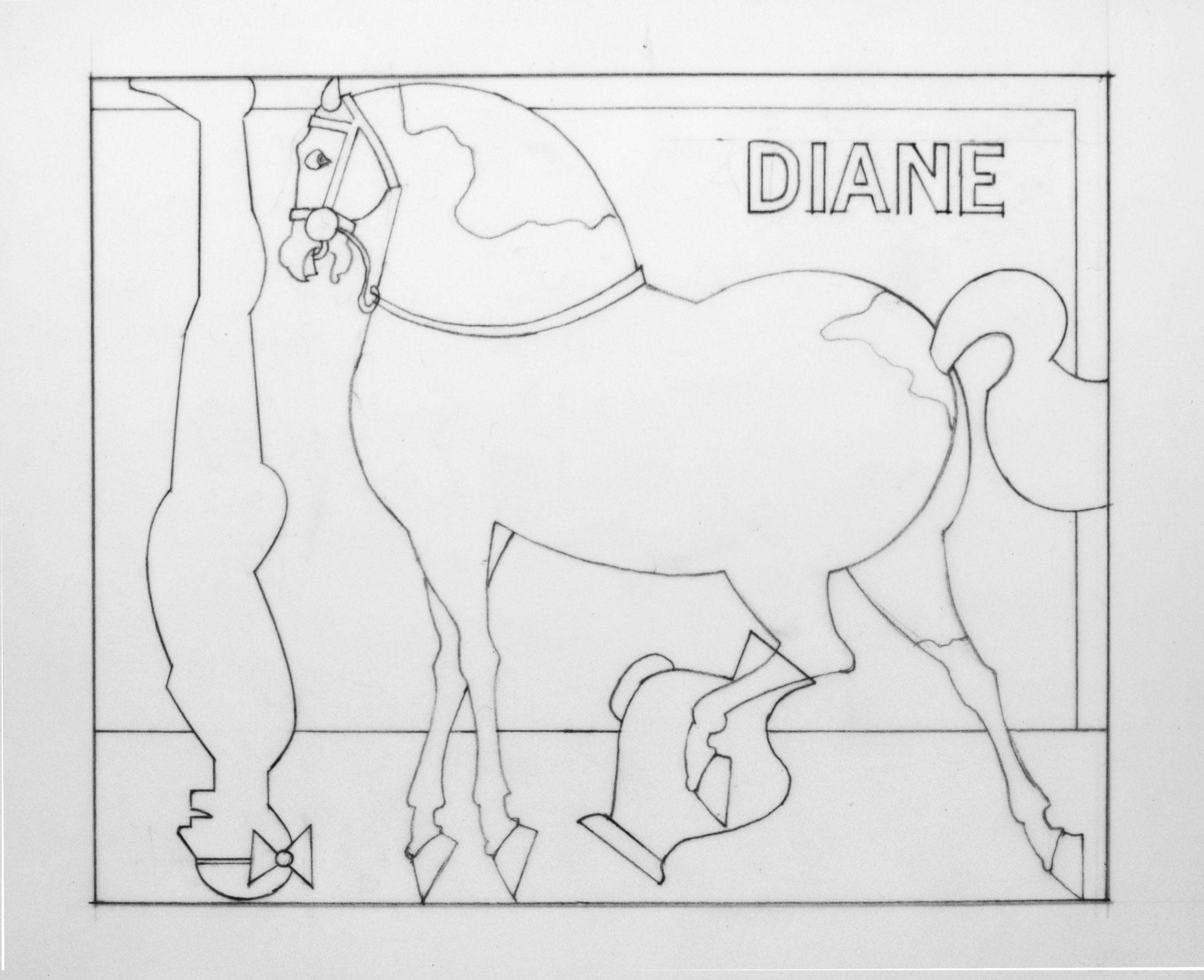 Etude Chevaux d'Oiron, crayon sur papier calque, 10,9 x 13,4, 1991 - Foto Hadler/Stuhr