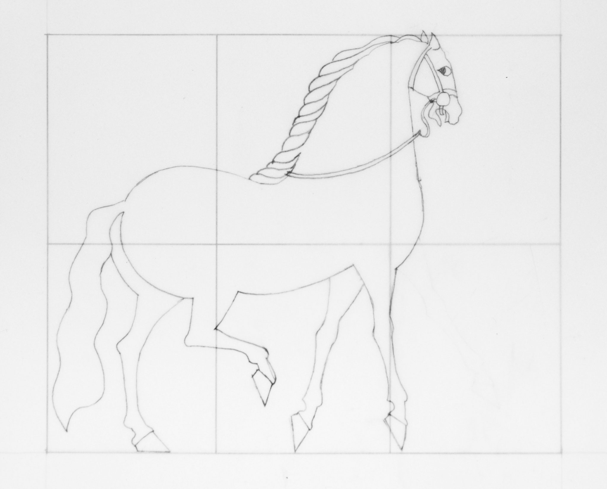 Study of Oiron Horse, pencil on tracing paper, 10,9 x 13,3, 1991 - Photo Hadler/Stuhr