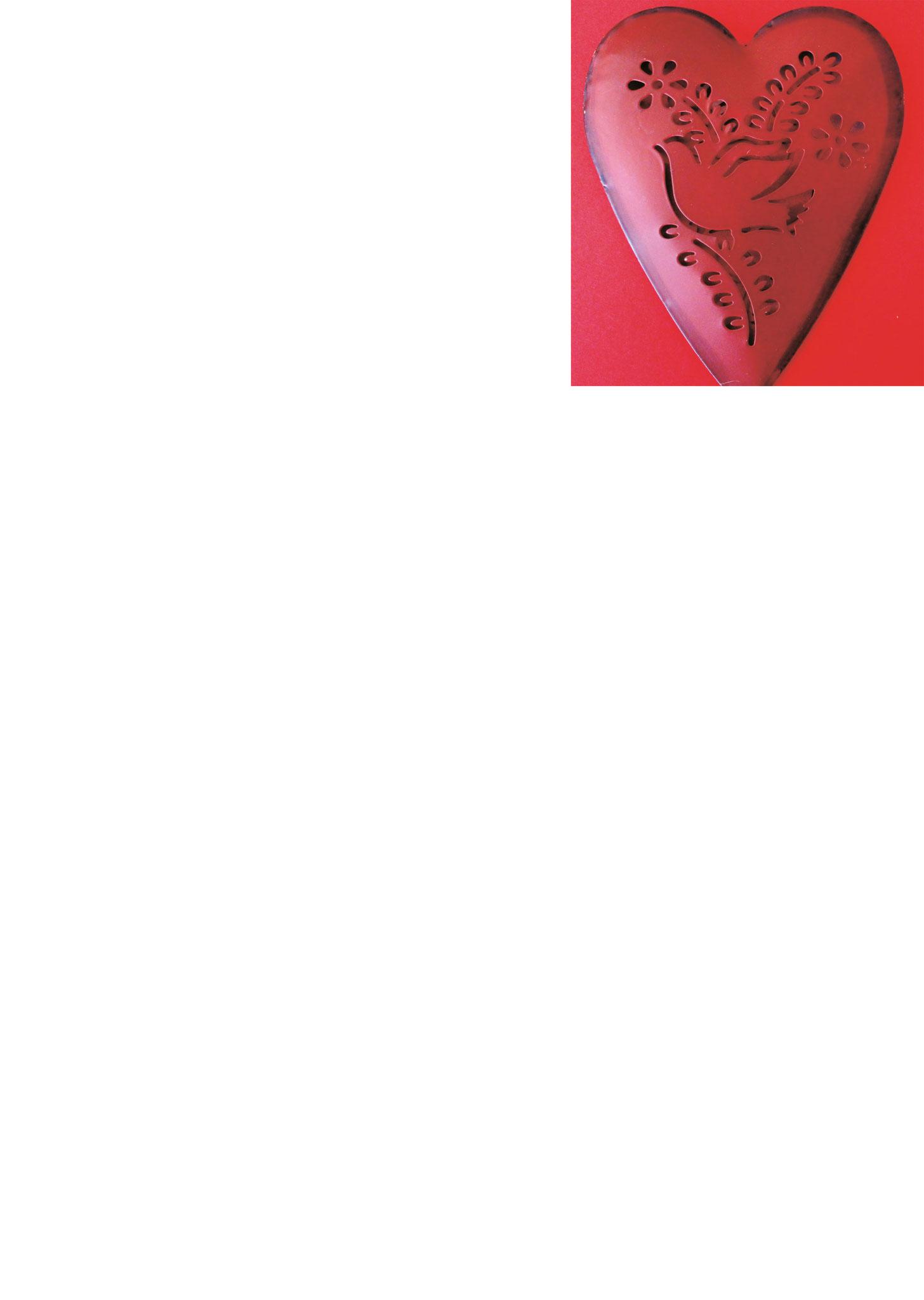 Briefpapier Taube im Herz