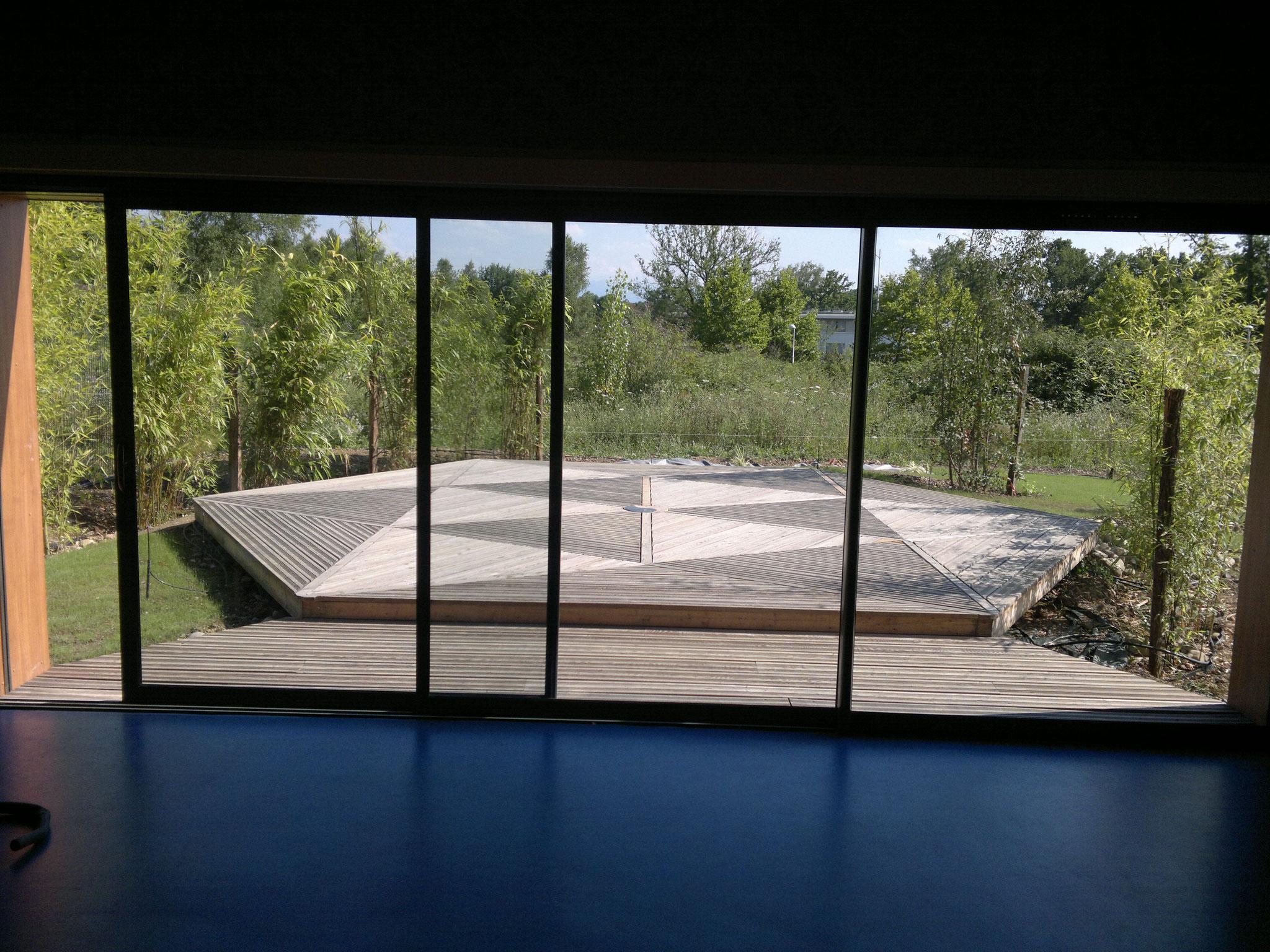 Terrasse bois hexagone