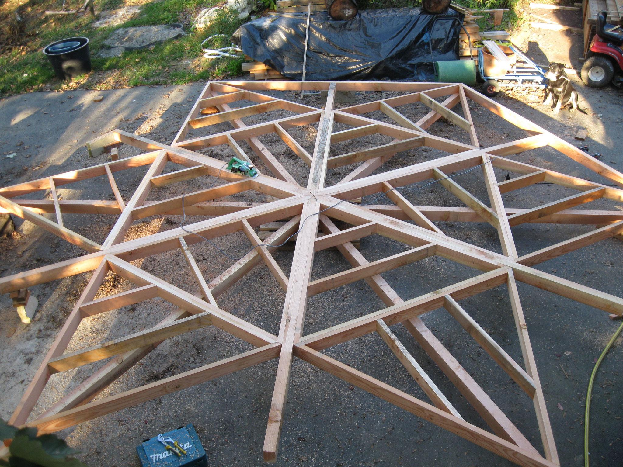 Terrasse bois hexagonale