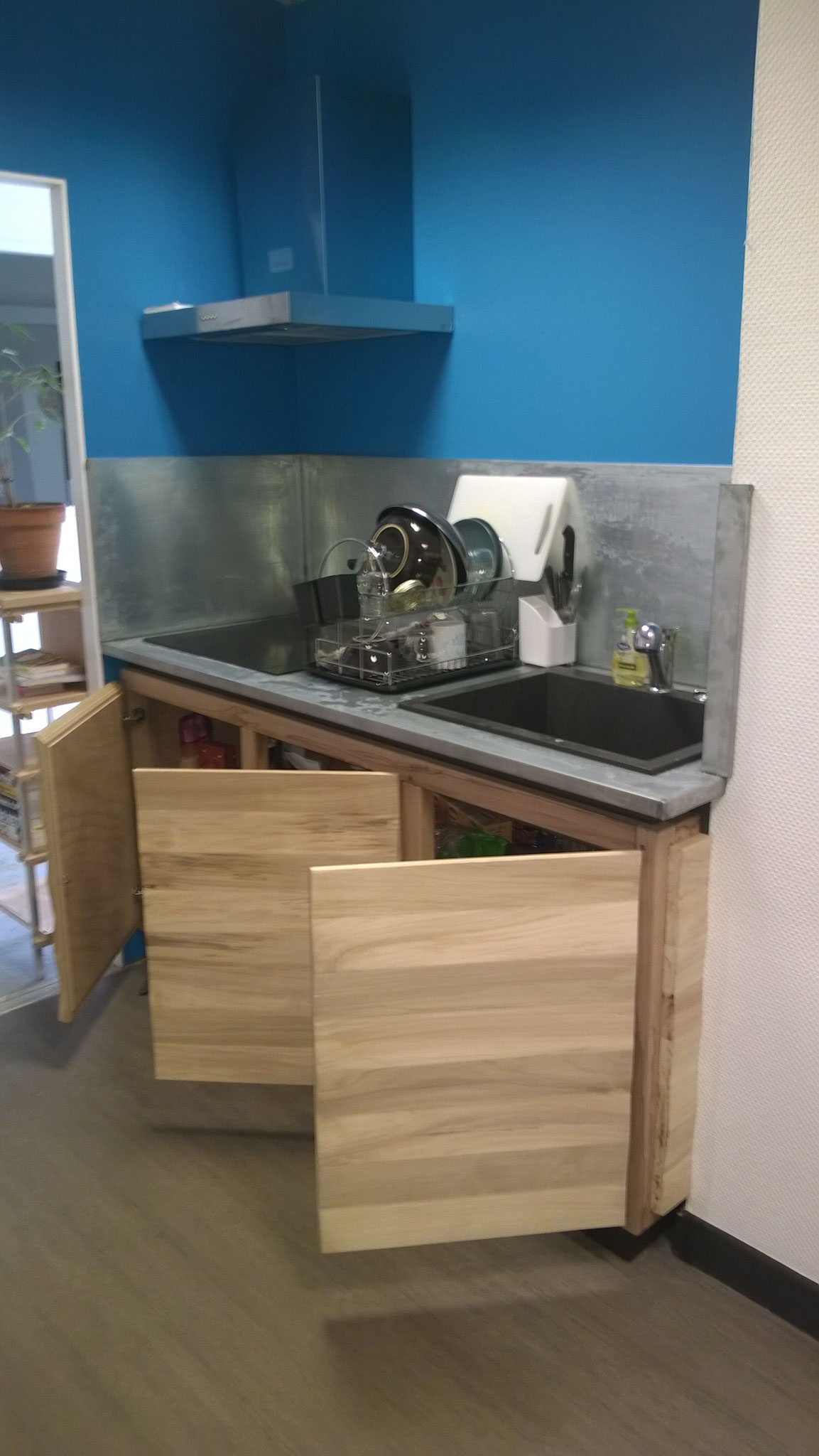 Meuble cuisine design bois, zinc