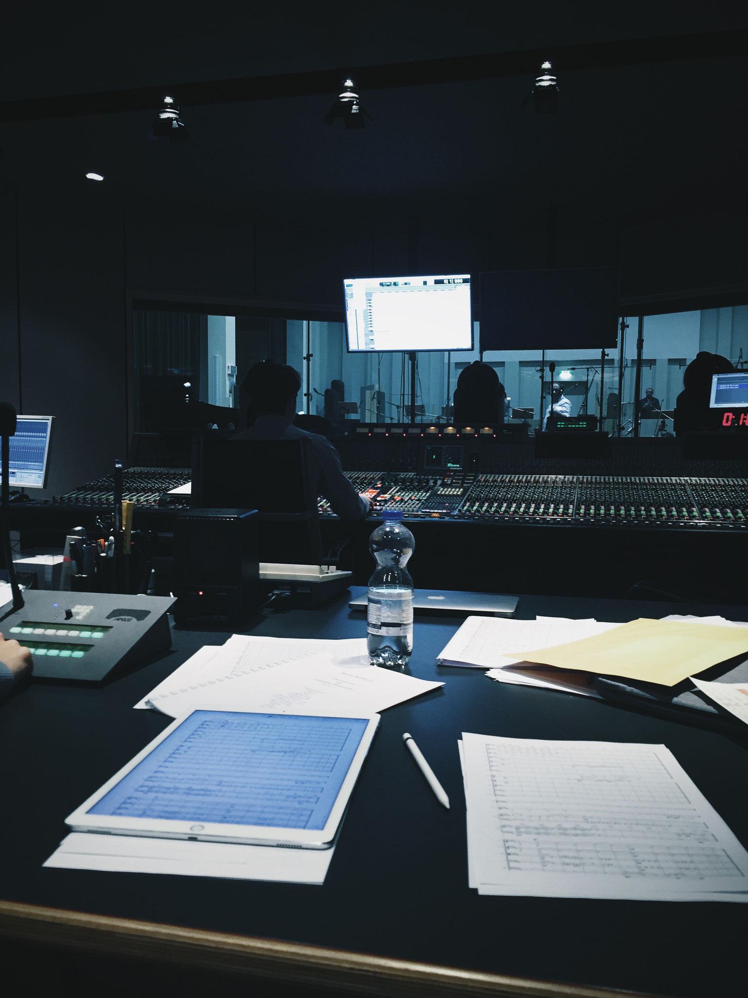 orchestra recording session