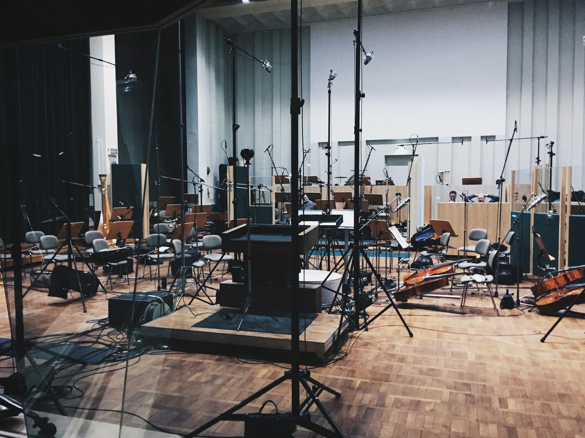 orchestra recording session