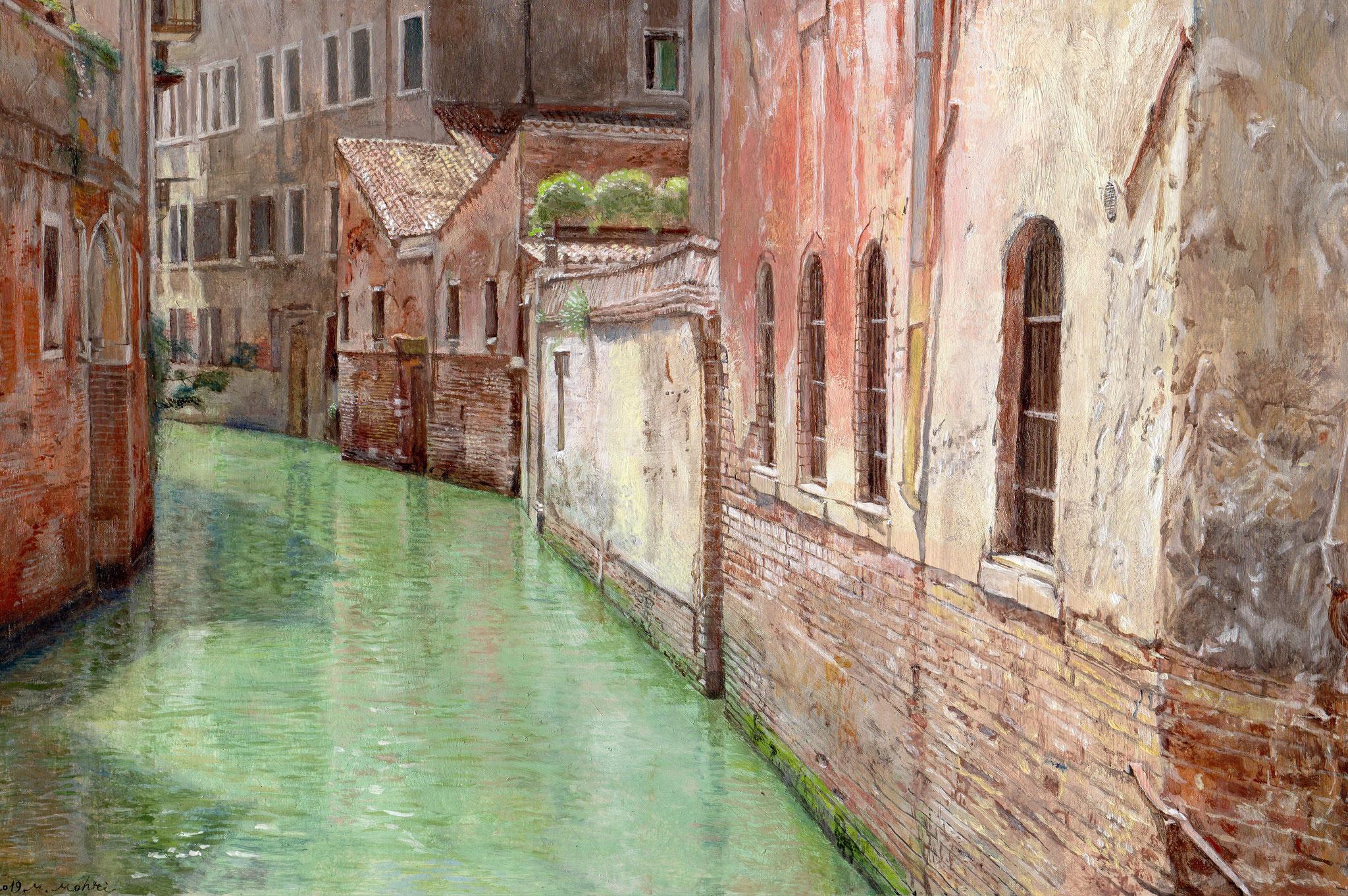 「L`ACQUA  A  VENEZIA ヴェネツィアの水」  油彩・板  20㎝×30㎝