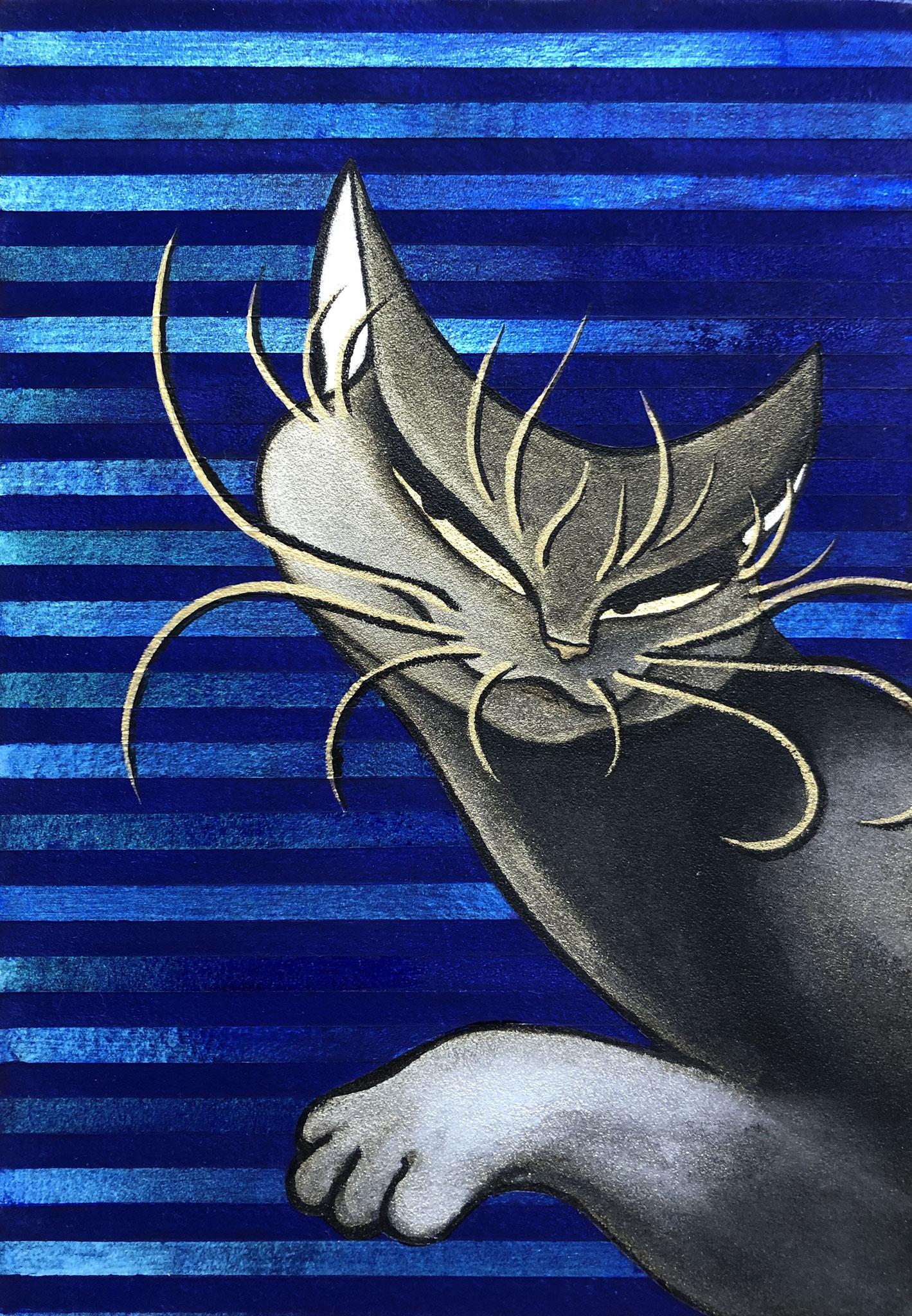 「光の宮殿」-青-  日本画  SM(22.7×16cm)