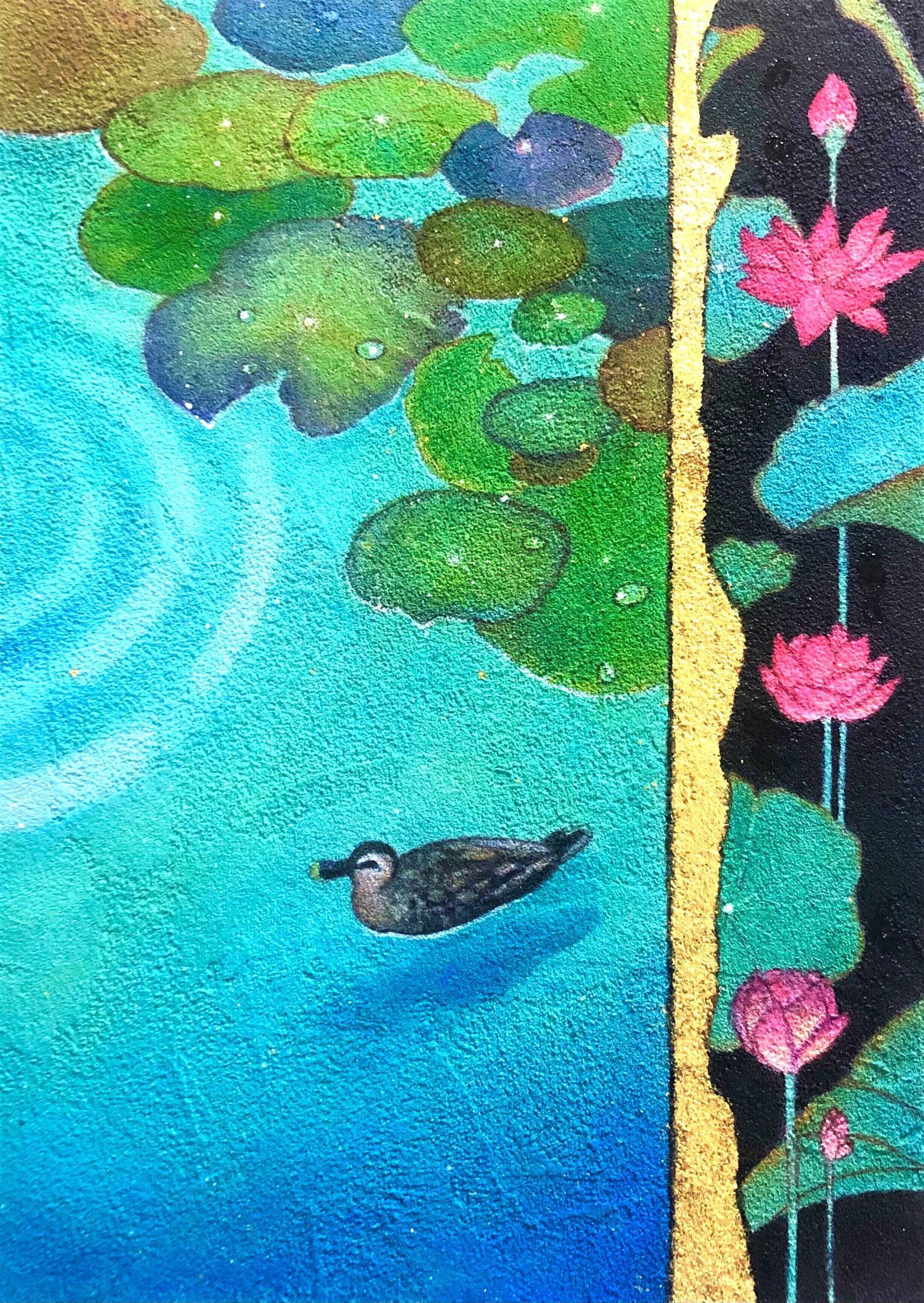 「久遠の庭 蓮の池-蒼」 雲母壁面画  SM号