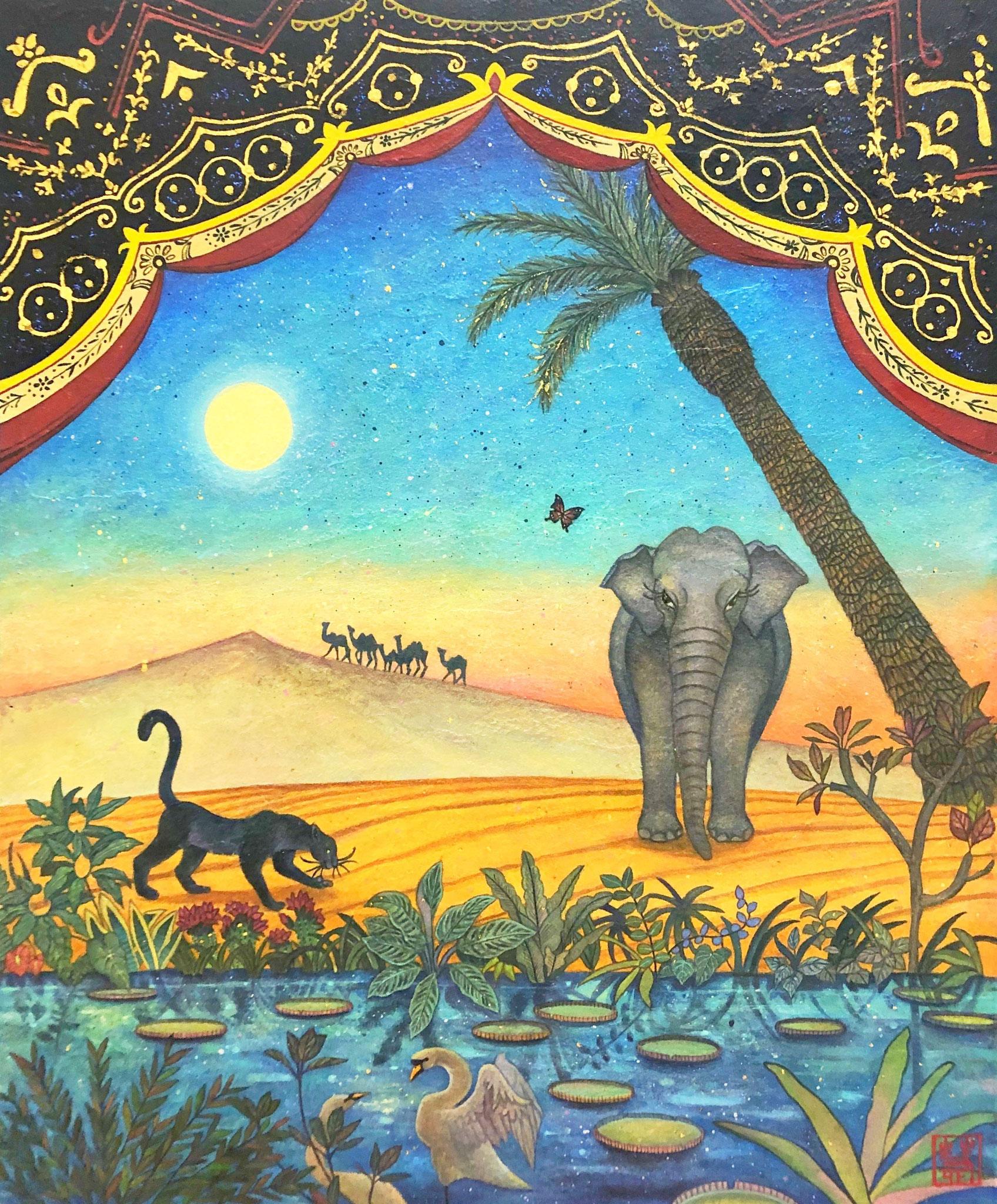 「オアシス」 F8号 雲母壁面画