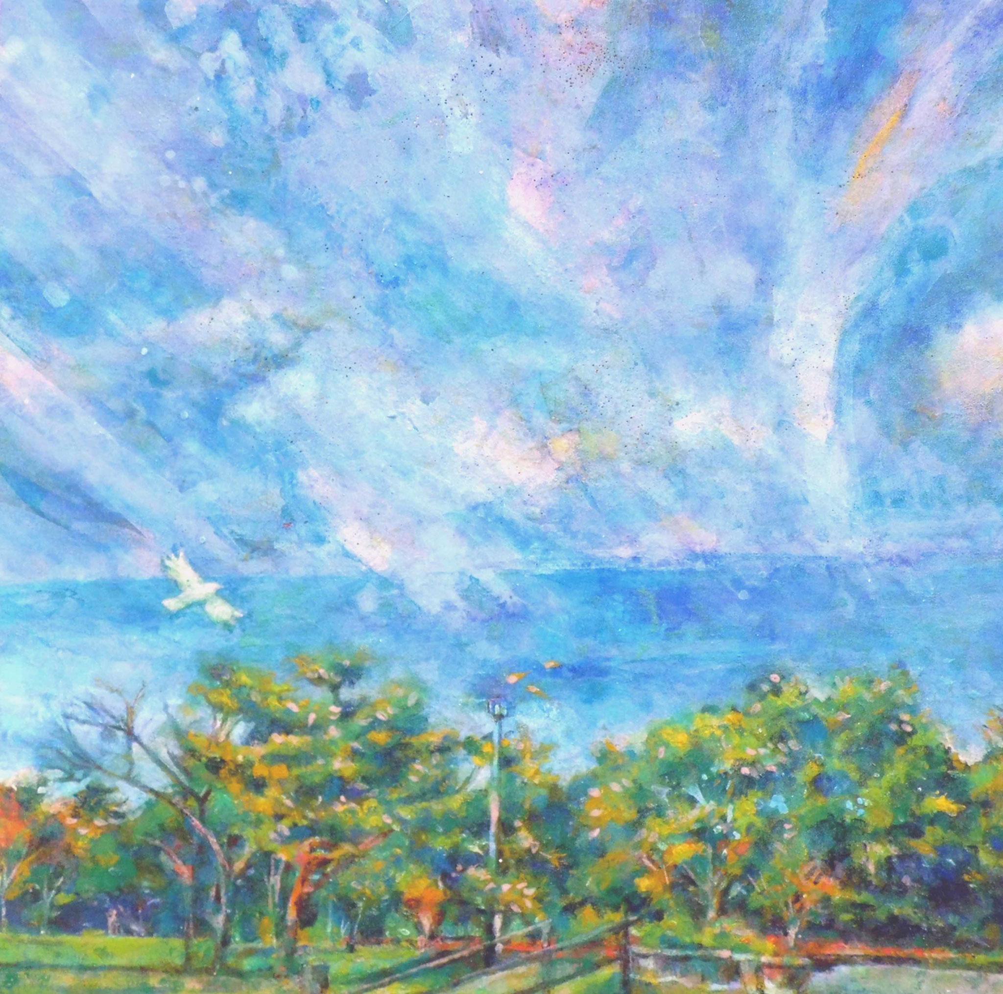 「初秋の青空」 日本画  S3号