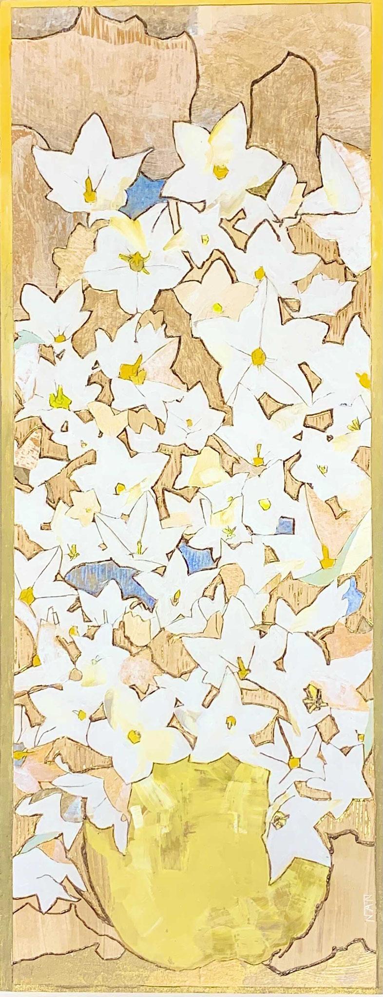 「白いキキョウ」 板絵  510×200mm