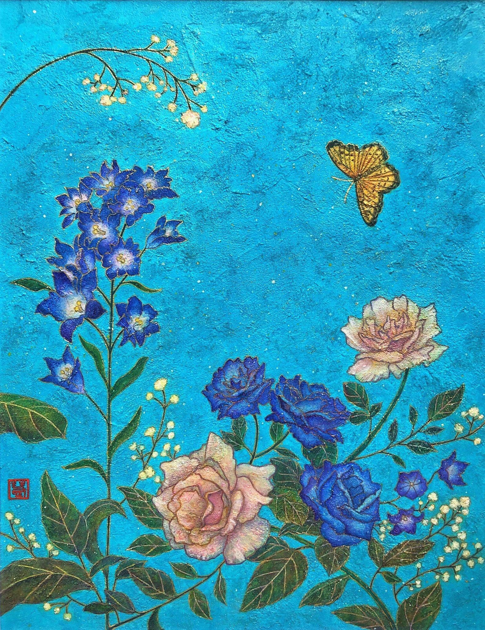 「久遠の庭」-空に溶ける青-  F6号 雲母壁面画
