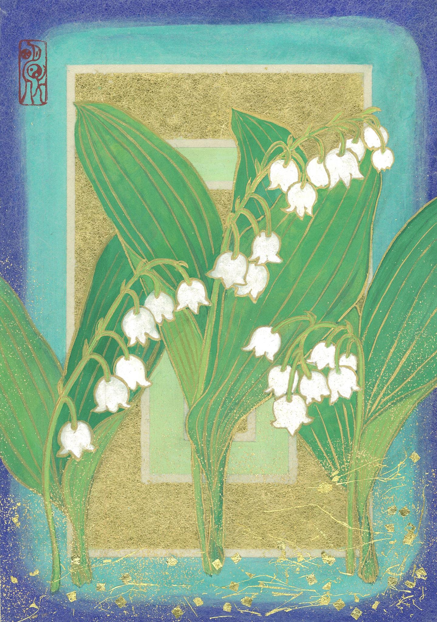「谷間の姫百合(鈴蘭)ー花巡りー」 SM号 日本画