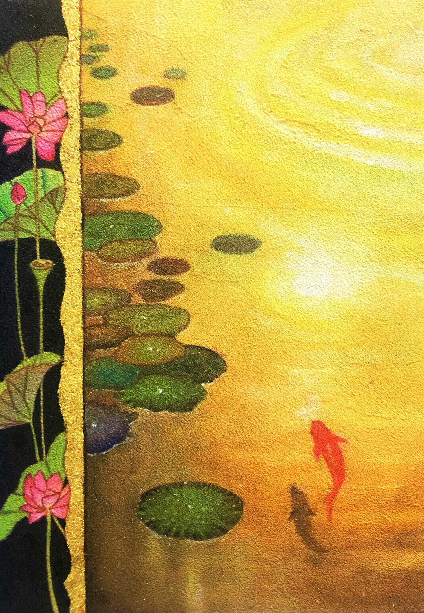 「久遠の庭 蓮の池-金色」 雲母壁面画  SM号