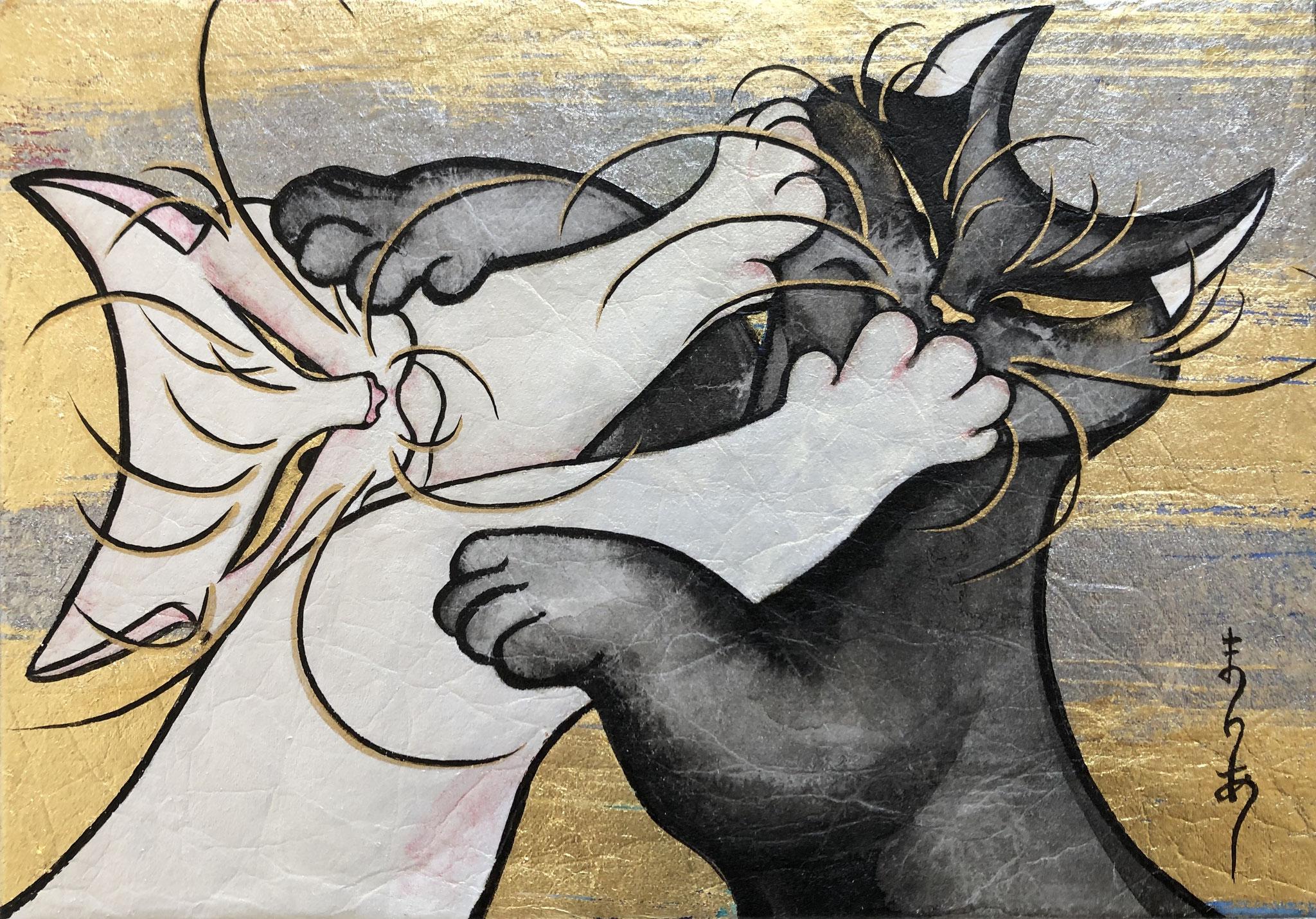「仲良し」 日本画 SM(22.7×16cm)