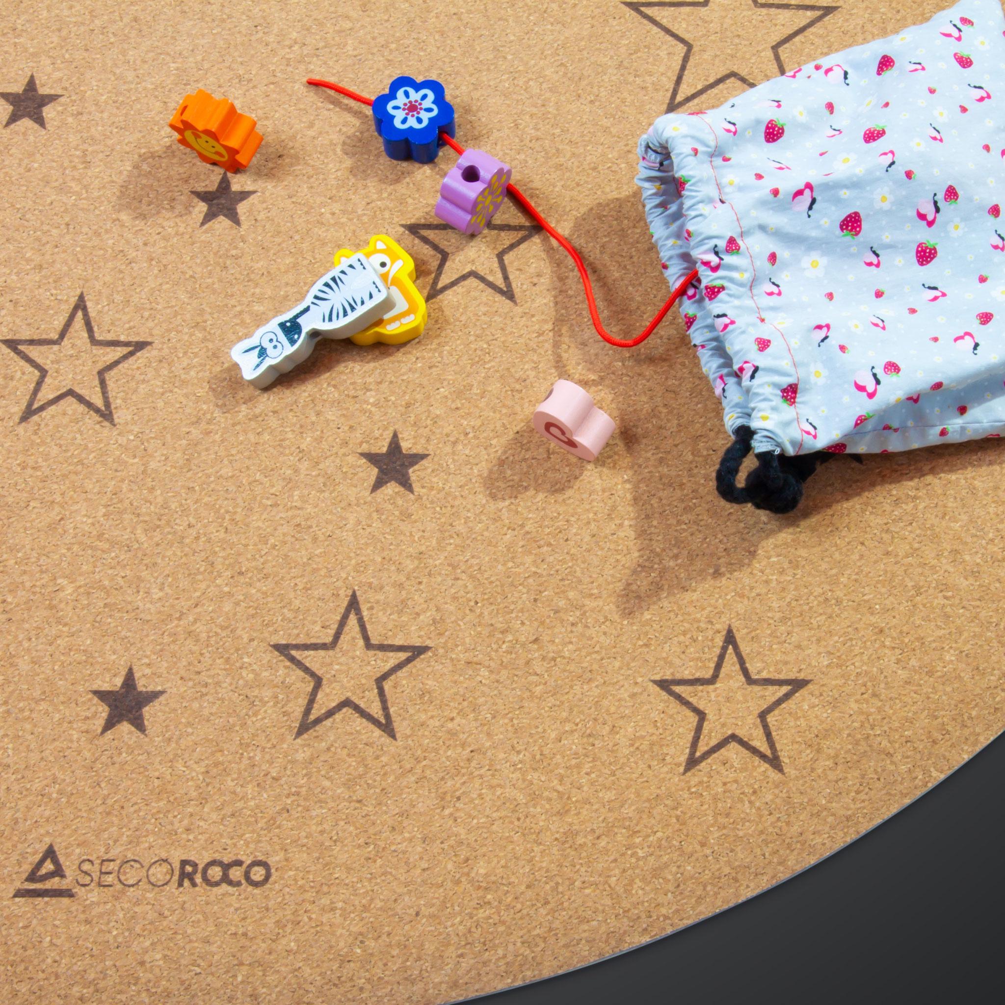 """Spielmatte rund """"Sterne"""" aus Kork"""