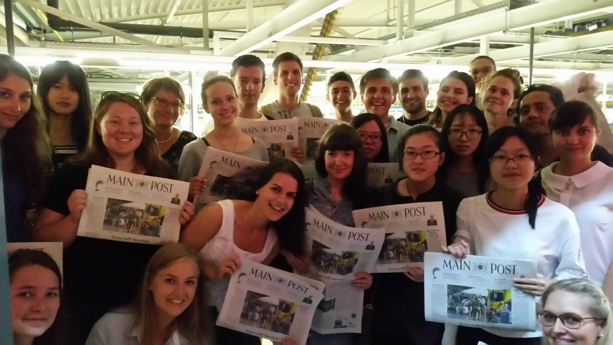 Deutsch-Sommersprachkurs Universität Würzburg, Deutsch lernen in Würzburg, Kulturprogramm, Führung bei der Mainpost Mediengruppe