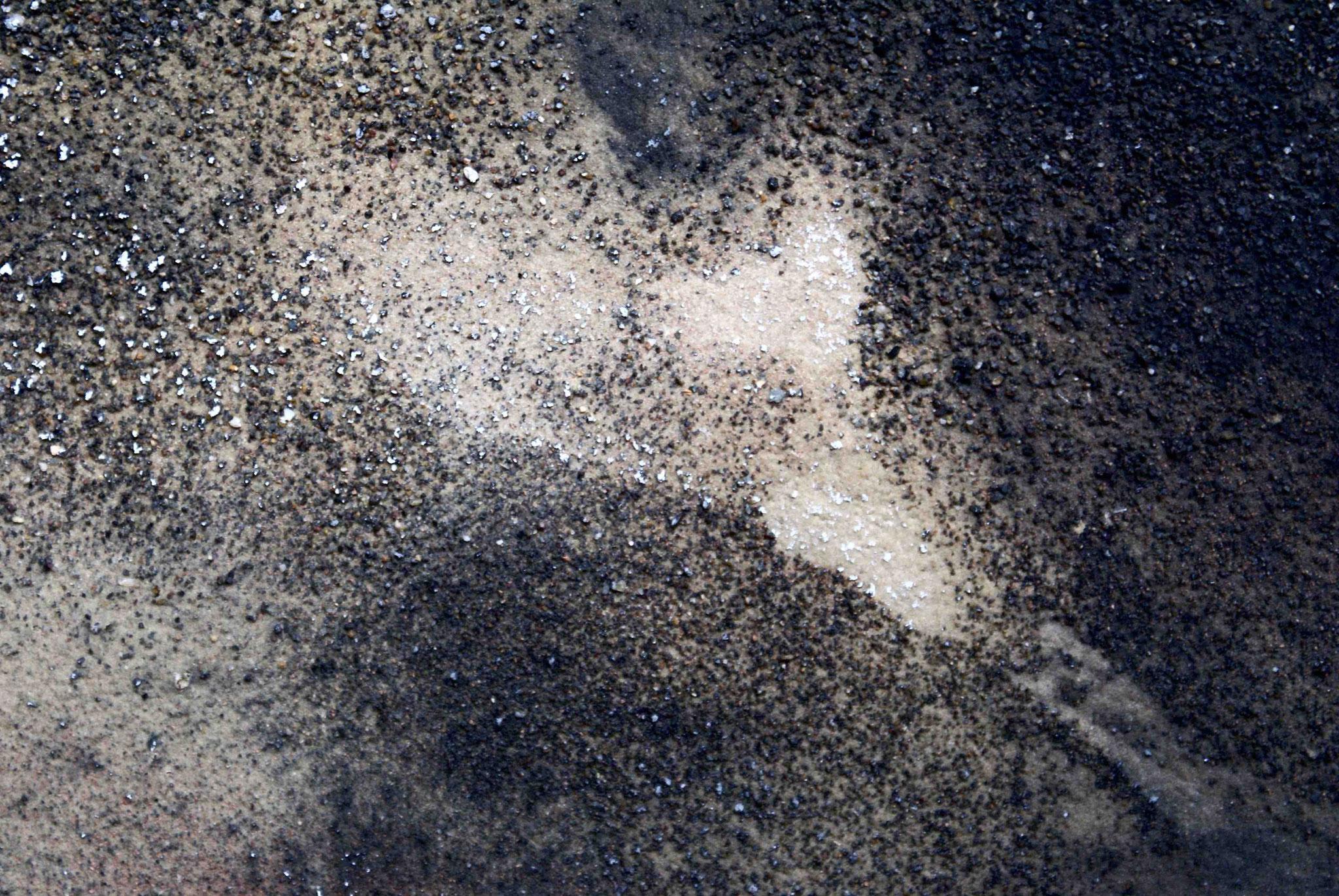 Gewaschene und besandete Leinwand - Detail