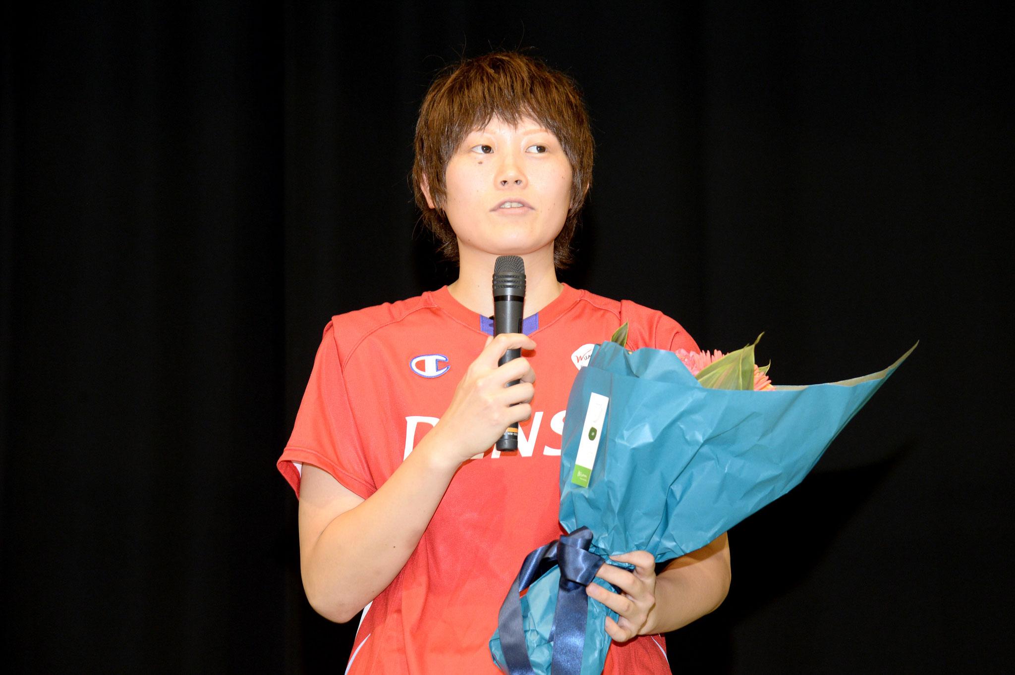 オリンピックの御礼挨拶、キャプテンとして決意表明(高田真希選手)