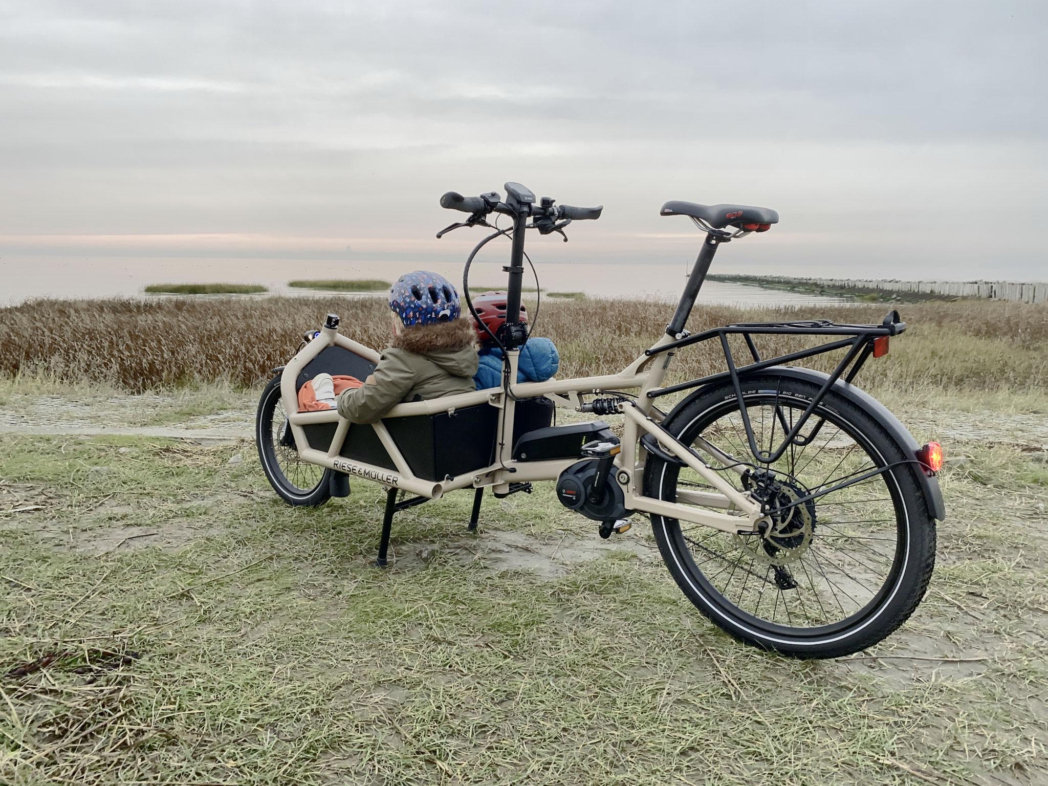 """""""Meine beiden Zwerge lieben es mit dem Lastenrad in den Kindergarten gefahren zu werden. Den Morgen mit einer guten Portion Frischluft zu beginnen, ist einfach fantastisch."""" - Dennis Hartwig Schinkel"""