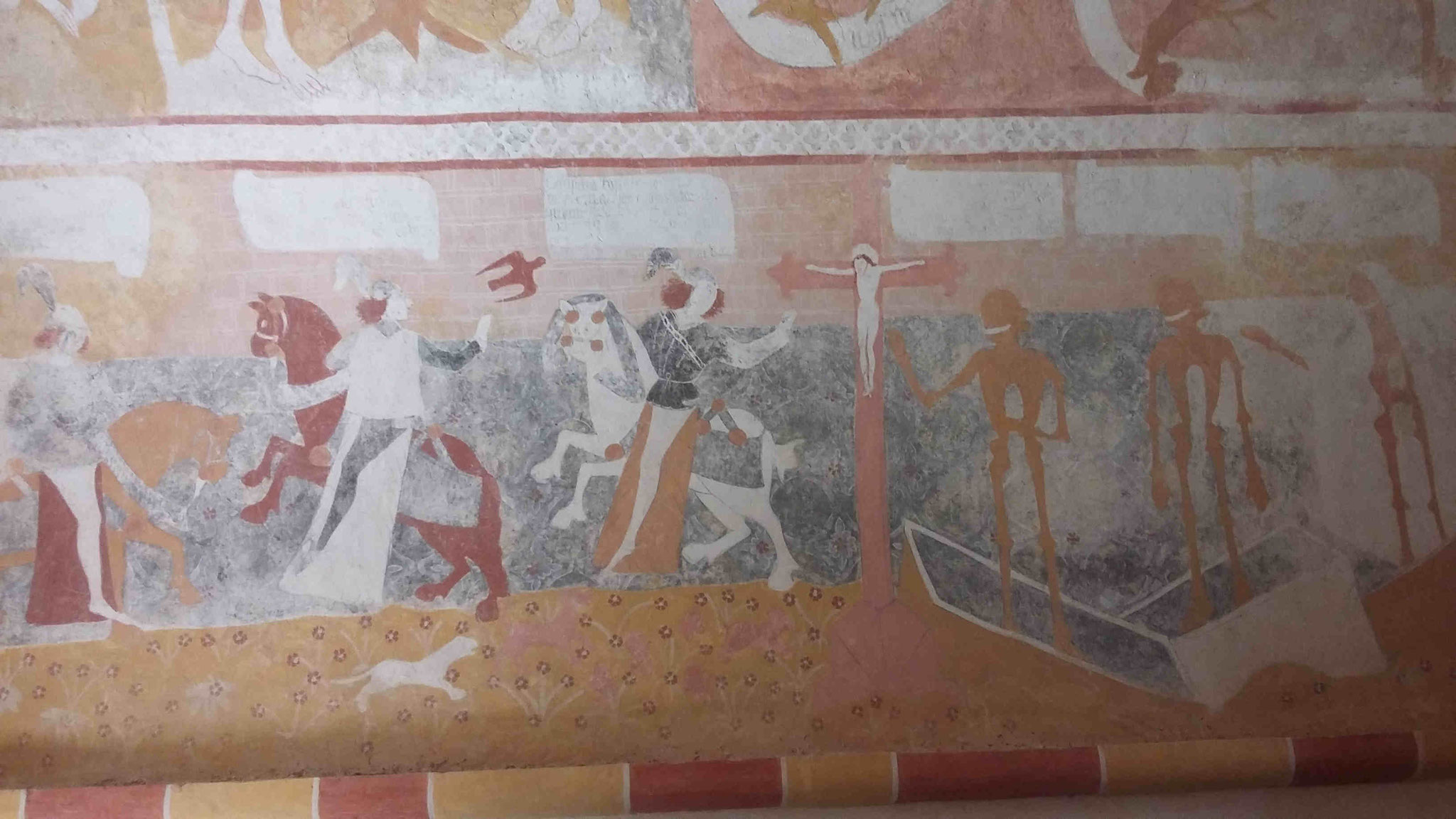 Chapelle funéraire de Jouhet, fresque intitulée : Les trois morts et les trois vifs