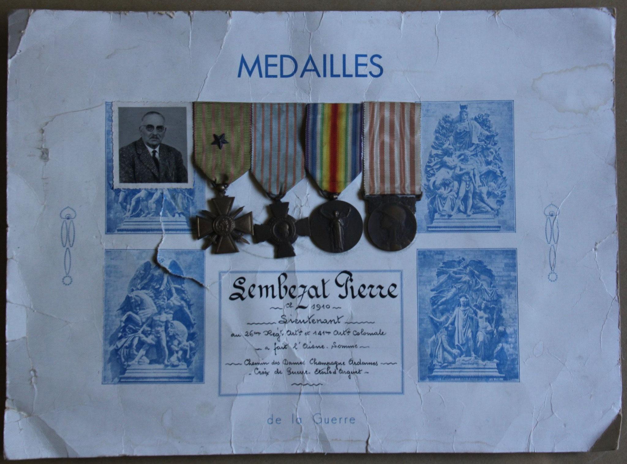 Diplôme et médailles militaire de Pierre Lembezat