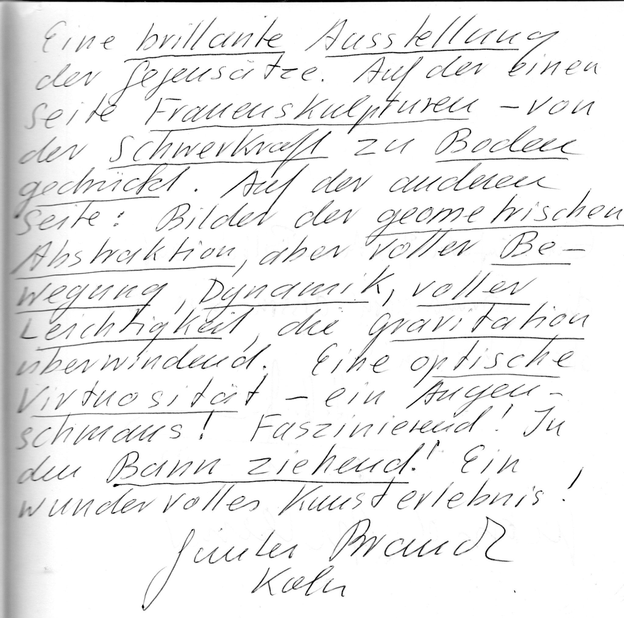Auszug aus Gästebuch 1997