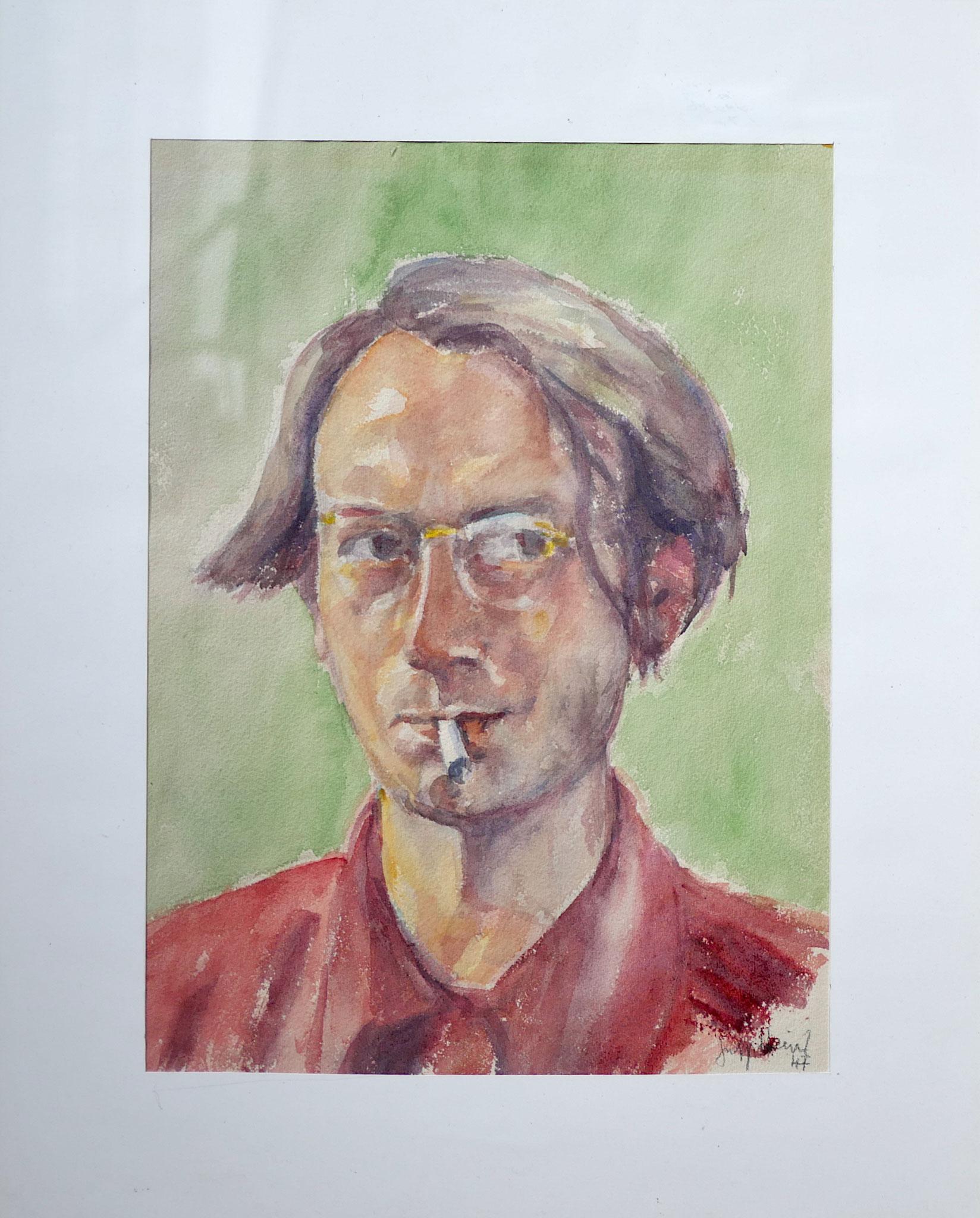 Eigenportrait Aquarell 1947