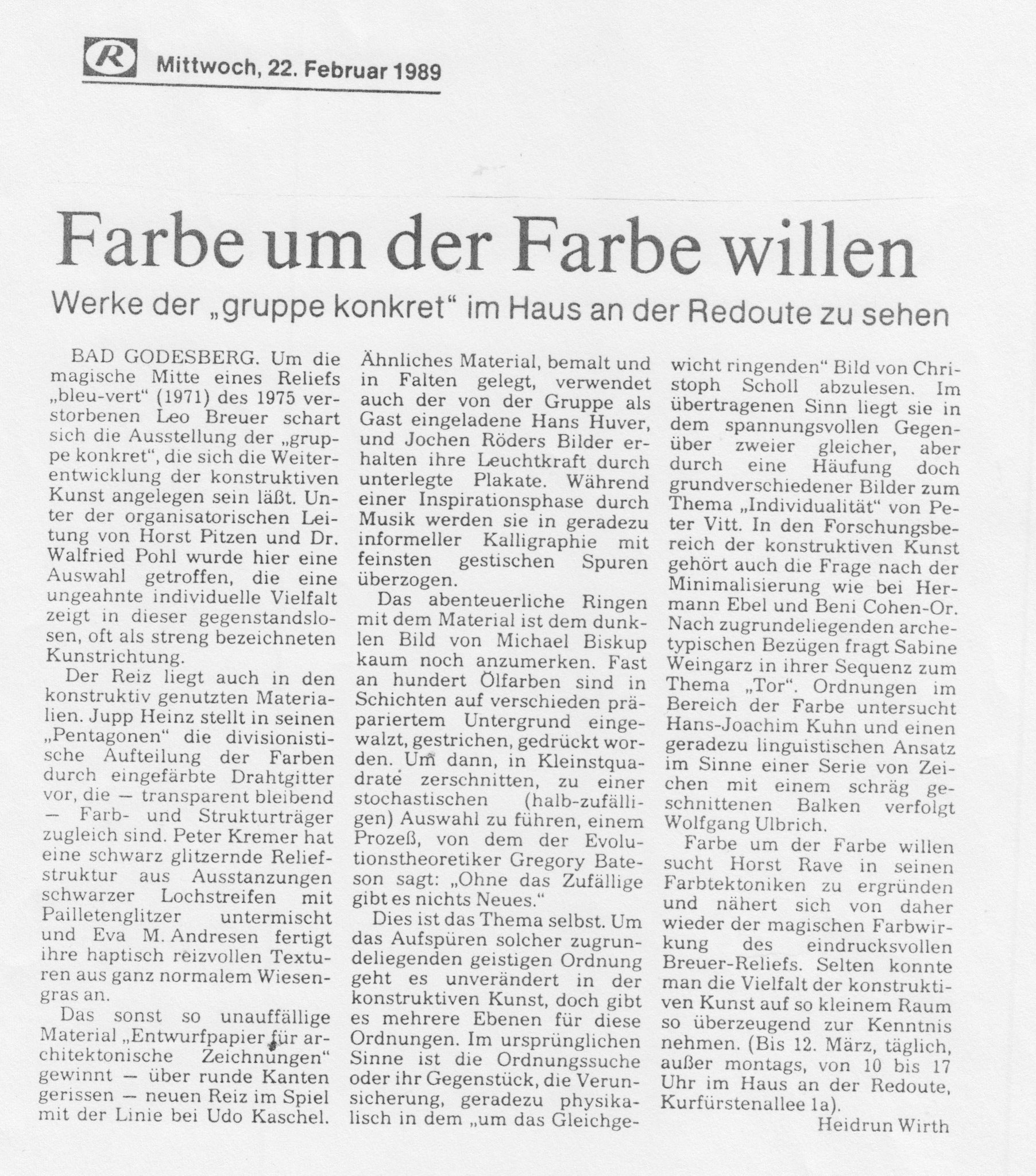 Bonn, Bonner Rundschau 1989